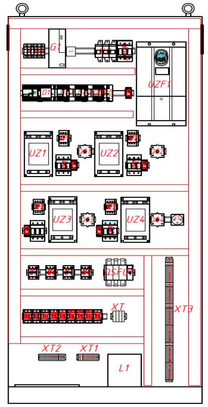 Вариант расположения оборудования в шкафу